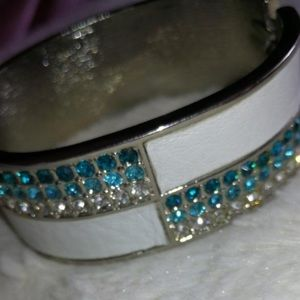 Shimmery Blue And White Faux Leather Bracelet